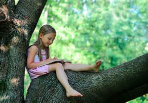 child reading in tree